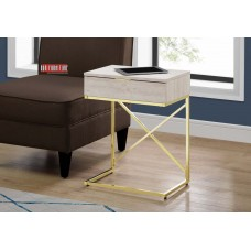 "I 3473 ACCENT TABLE - 24""H / BEIGE MARBLE / GOLD METAL"