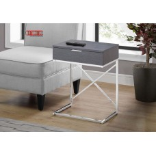 "I 3474 ACCENT TABLE - 24""H / GREY / CHROME METAL"