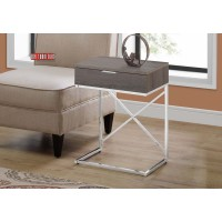 """I 3475 ACCENT TABLE - 24""""H / DARK TAUPE / CHROME METAL"""