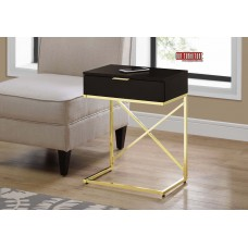 "I 3476 ACCENT TABLE - 24""H / CAPPUCCINO / GOLD METAL"