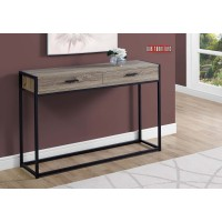 """I 3511 ACCENT TABLE - 48""""L / DARK TAUPE / BLACK HALL CONSOLE"""