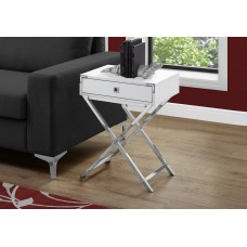 "I 3550 ACCENT TABLE - 24""H / GLOSSY WHITE / CHROME METAL"