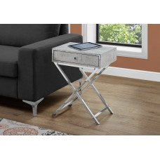 "I 3551 ACCENT TABLE - 24""H / GREY CEMENT / CHROME METAL"