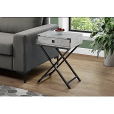 "I 3552 ACCENT TABLE - 24""H / GREY CEMENT / BLACK NICKEL METAL"