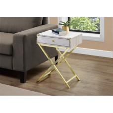 "I 3553 ACCENT TABLE - 24""H / BEIGE MARBLE / GOLD METAL"