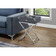 "I 3554 ACCENT TABLE - 24""H / GREY / CHROME METAL"