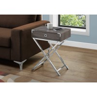 """I 3555 ACCENT TABLE - 24""""H / DARK TAUPE / CHROME METAL"""