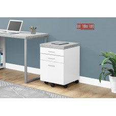 I 7051 FILING CABINET - 3 DRAWER / WHITE / CEMENT-LOOK ON CASTOR