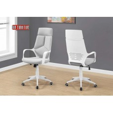 I 7270 OFFICE CHAIR - WHITE / GREY FABRIC / HIGH BACK EXECUTIVE