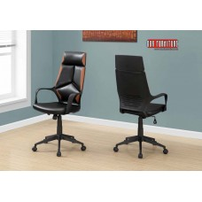 I 7271 OFFICE CHAIR - BLACK / BROWN LEATHER-LOOK / EXECUTIVE