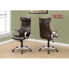 I 7289 OFFICE CHAIR - BROWN LEATHER-LOOK / HIGH BACK EXECUTIVE