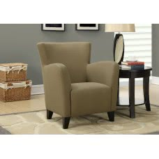 I 8066 ACCENT CHAIR - BROWN LINEN FABRIC
