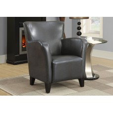 I 8077 ACCENT CHAIR - CHARCOAL GREY LEATHER-LOOK FABRIC