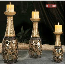 GALAXY COLLECTION C-141 3 PC.CANDLE HOLDER SET